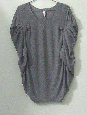 (搬家大出清)法國設計師品牌 AcRosier 三宅一生風摺疊袖設計,灰色羊毛罩衫/外搭衫,有彈。不規則下擺前長後短。法國40碼 maxmara 川保久玲 夏姿