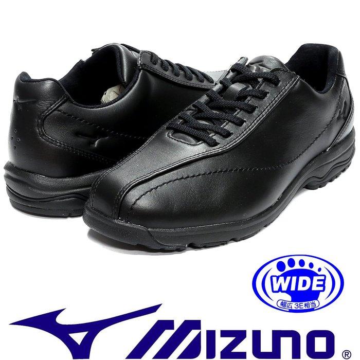 鞋大王Mizuno B1GC-161709 黑色 楦頭 全皮質健走鞋(內側拉鍊設計)【免運費,加贈襪子】750M