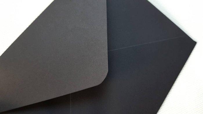 空白無印 西式複古 信封 黑色支票封 請柬信封 黑色信封橫式西式明信片長方形 極緻黑/黑 封蠟章14 x 9.5cm