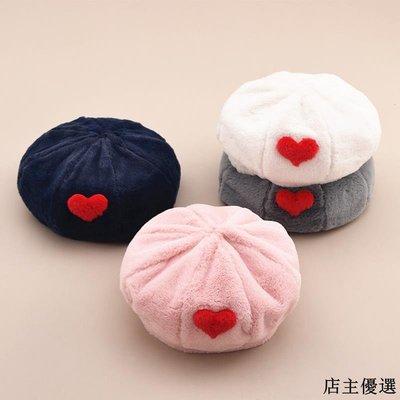帽子女冬季保暖毛絨貝雷帽韓版可愛百搭愛心兔絨八角帽文藝畫家帽