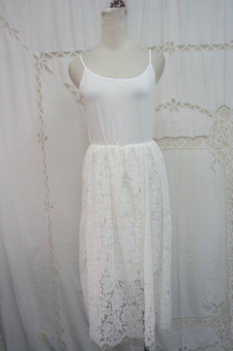 韓國製白棉彈性蕾絲細肩帶洋裝(客訂)