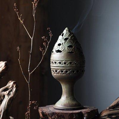 復古香薰爐家居室內家用凈化空氣桌面陶瓷盤香爐 博山爐