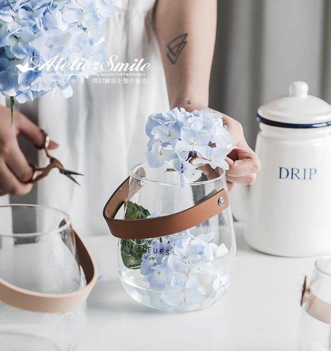 [ Atelier Smile ] 鄉村雜貨 北歐風 簡約皮革玻璃花瓶  透明花瓶 水滴花瓶 # 大兩件組 (現+預)