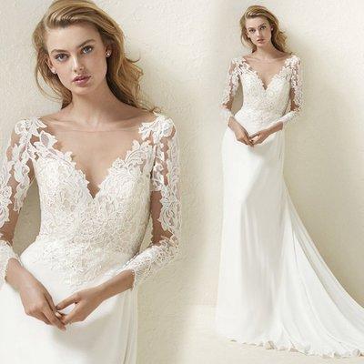 新年婚禮禮服婚紗禮服宴會禮服魅惑女王 美艷蕾絲長袖新娘冬季冬天大拖尾婚紗禮服