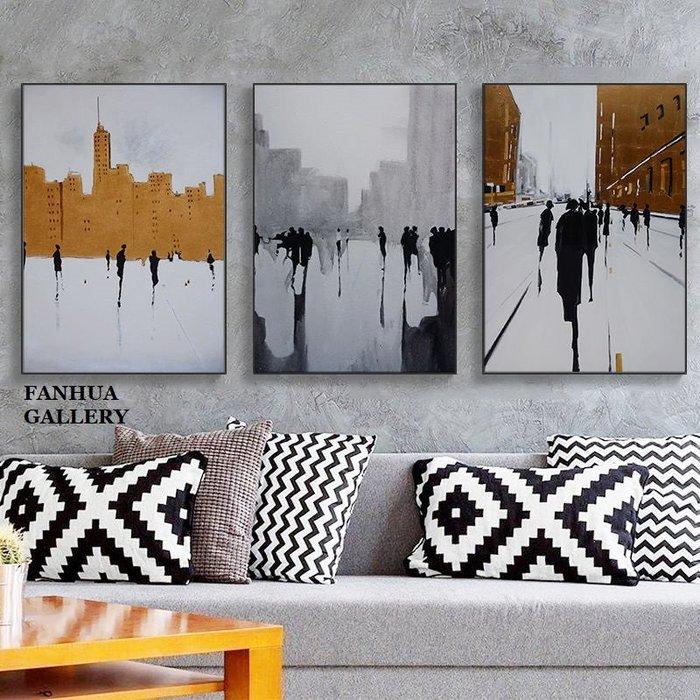 C - R - A - Z - Y - T - O - W - N 黑白人物抽象城市掛畫城市建築抽象藝術畫公司接待室裝飾畫客廳現代簡約辦公室油畫空間設計師款版畫