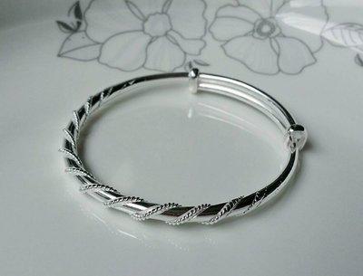 嗨,寶貝銀飾珠寶* 925純銀☆999純銀 時尚 造型 個性 扭線繞 實心純銀手環 手鐲 可調節