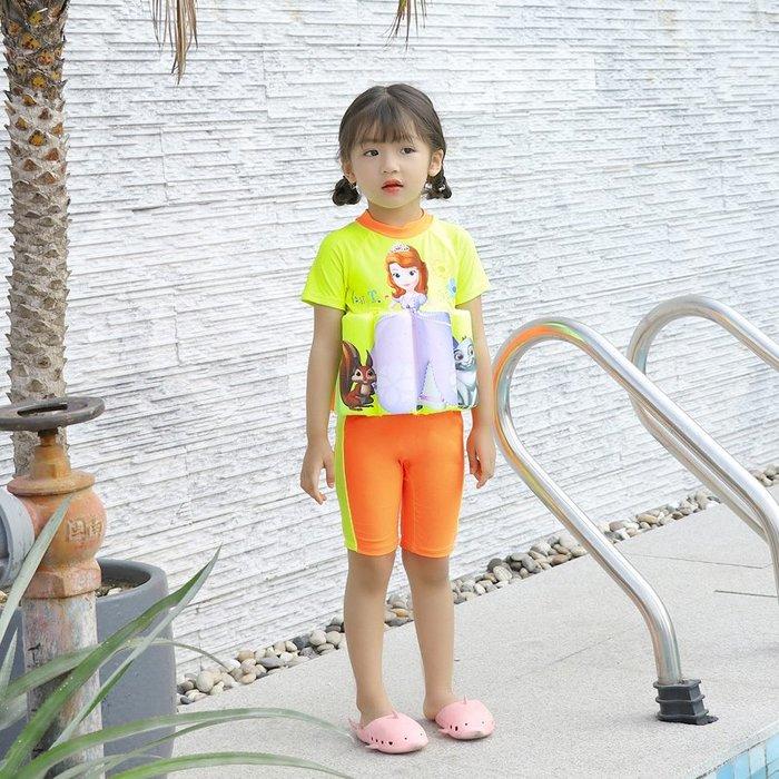 •*~ 辣媽咪衣飾小舖 ~*•❤泳裝系列 📣C550797可愛卡通兒童浮力泳衣(附泳帽)---蘇菲亞