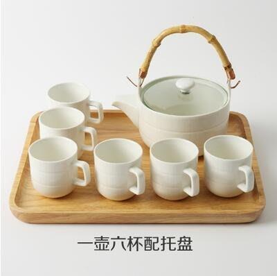 【優上】日式竹柄茶壺 花草茶具 水杯 陶瓷茶具 水壺杯「平行紋款一壺六杯配托盤」