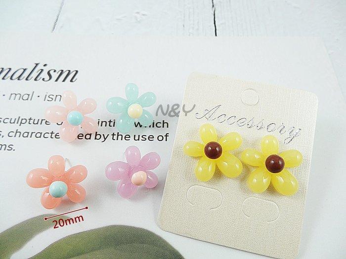 【現貨】韓系果凍色糖果色五瓣花朵耳釘耳環耳夾☆【N&Y】EB92