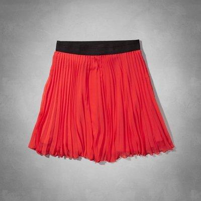 【天普小棧】AF A&F AF Pleated Chiffon Skater Skirt雪紡紗百摺裙短裙紅色S號