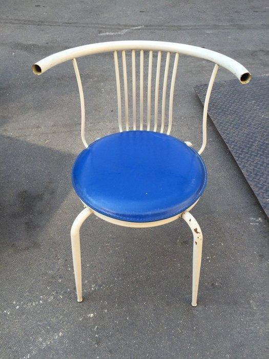 非凡二手家具 藍色鐵製牛角椅*餐椅*洽談椅*電腦椅*辦公椅*接待椅*化妝椅*課桌椅*咖啡椅*等候椅*會計椅