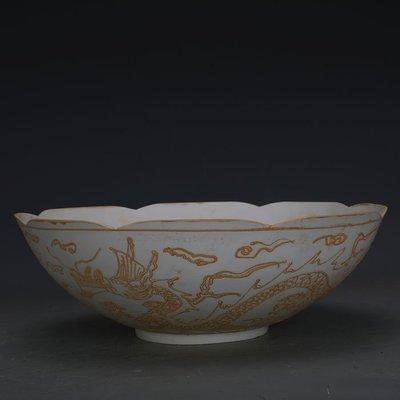 ㊣姥姥的寶藏㊣ 大明永樂甜白瓷雙龍紋薄胎花口碗  官窯出土古瓷器古玩古董收藏品