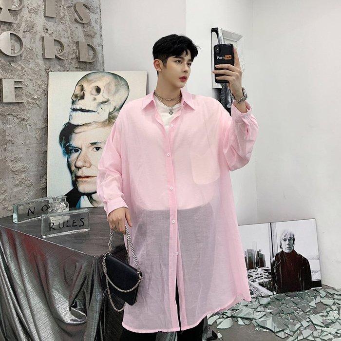 型男風 實拍 2019夏秋裝純色背後褶皺設計寬鬆男士長袖襯衫 二色 現貨 免運費