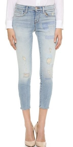 ◎美國代買◎JBRAND Lowrise crop刷破刷破補丁設計七分合身牛仔褲
