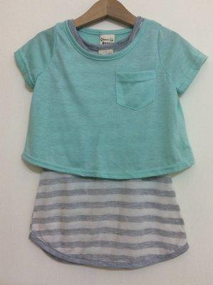 媽媽咪呀~Mamma Mia韓國童裝!過季零碼出清!果綠條紋二件式洋裝