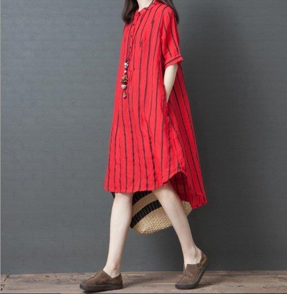 韓版 夏季寬鬆 棉麻 條紋襯衫裙  長版襯衫 時尚女裝 兩色 現貨