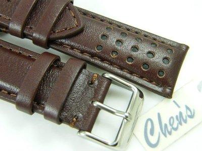 『近6mm厚』三眼計時碼錶專用 20mm 22mm 24mm 咖啡色羊皮錶替代 BREITLING ORIS SINN