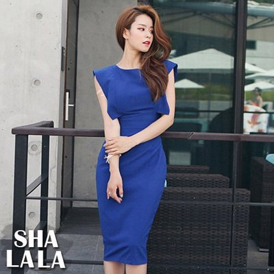SHA LA LA 莎菈菈 韓版復古性感露背開岔包臀無袖連衣裙洋裝2色(S~XL)2019050707預購款