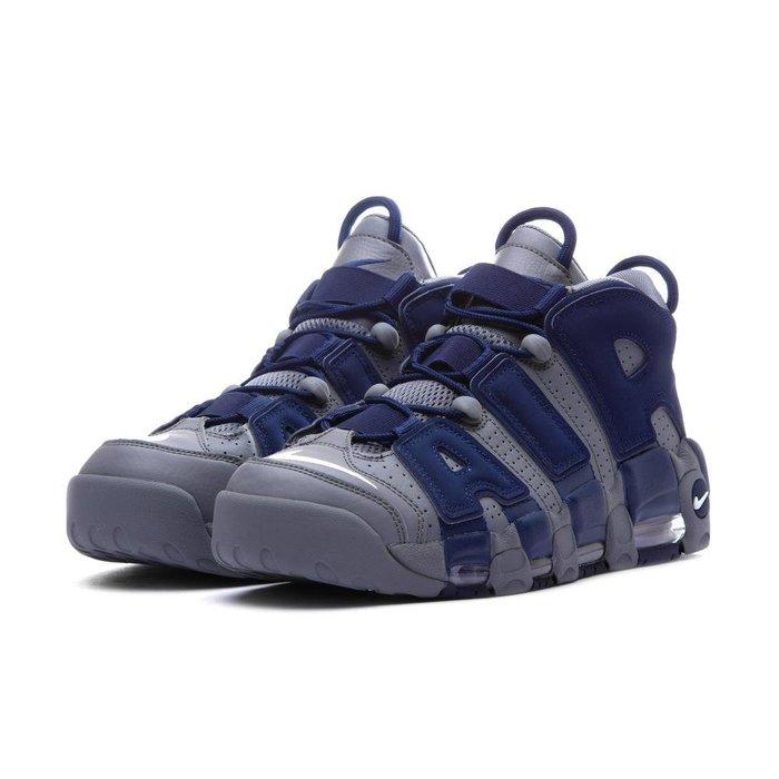 =CodE= NIKE AIR MORE UPTEMPO 96 牛巴戈皮革籃球鞋(灰深藍) 921948-003 預購