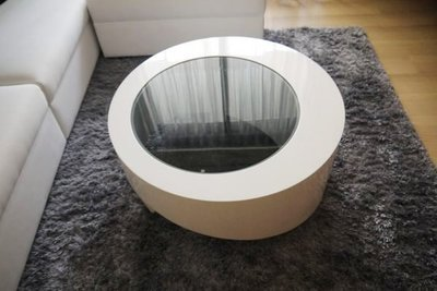 HODERN - ATMOSPHERE OLIMPO 茶几,正圓削斜特殊造型+白鋼烤+灰玻強化,現代設計感十足