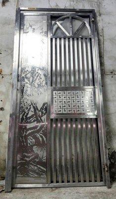 耐用不生鏽《九成新》精鑄亮面純304不鏽鋼《含門框》白鐵門