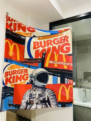 原創設計 快餐宇航 員創意無 價 美術 裝飾布背 景布