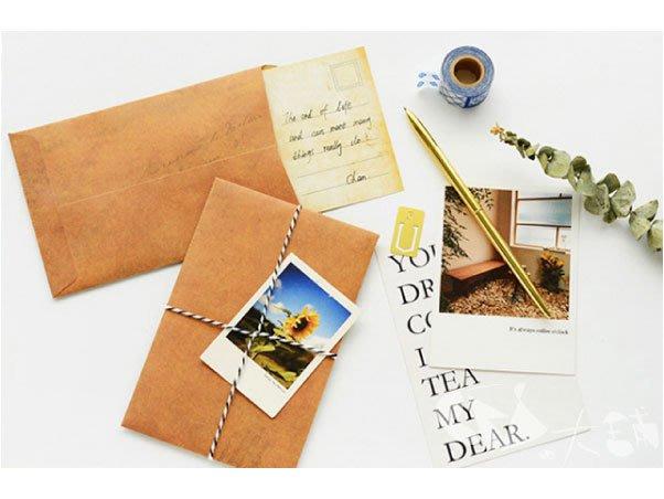 復古作舊信封@牛皮紙製明信片收納紙袋包裝禮物【BES大舖】1706