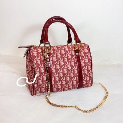 ✨CJ Vintage✨日本二手正品Dior 25紅老花波士頓紅金手提包