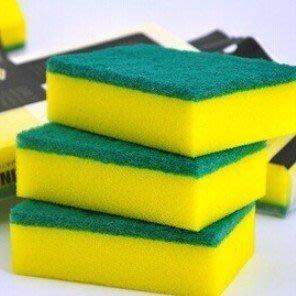 黃綠色高密金剛砂海綿百潔布 清潔海綿 廚房洗碗海綿擦 納米綿9