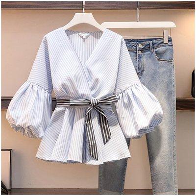 喬羽L-4XL藍白條紋V領泡泡袖襯衫DE201001