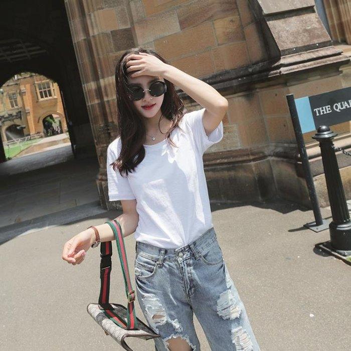 夏裝新款韓版女裝寬鬆純棉白色全棉竹節棉t恤女短袖上衣打底衫