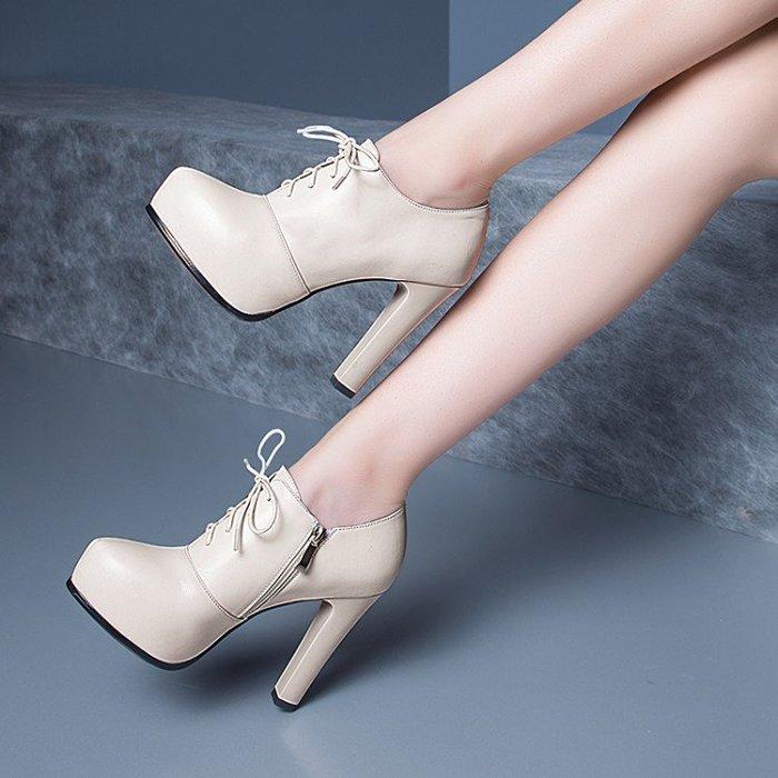 【P.M♥SHOP】百搭女鞋系帶深口真皮粗跟單鞋防水台高跟職業工作鞋(米色 黑色)34-39碼