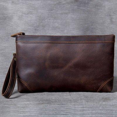 手拿包真皮錢包-大容量多卡位瘋馬牛皮男女包包73vp21[獨家進口][米蘭精品]