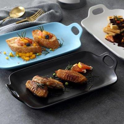 烘烤盤黑白色陶瓷盤燒烤盤西餐盤意大利面盤子西餐廳酒店飯店餐具  全館免運