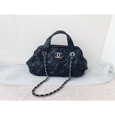 日本中古二手💕💕香奈兒vintage Chanel黑色菱格鏈條單肩包手提包(夢露🇰🇷🇯🇵現貨實拍)