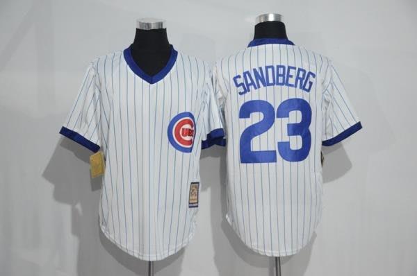 116CM-136CM胸 CUBS棒球服MLB小熊隊球衣23號SANDBERG復古藍白色套頭衫短袖訓練all
