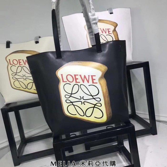 Melia 米莉亞代購 專售正品 2018ss 羅意威 LOEWE 單肩包 購物包 手提包 手提袋 吐司logo 黑色