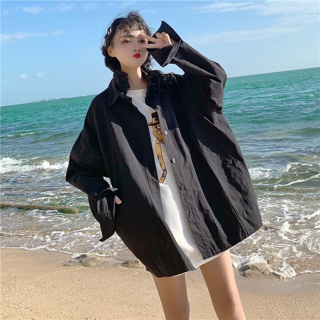FINDSENSE G6 韓國時尚潮流 2019新款復古大口袋工裝中長款寬鬆外套長袖襯衫女裝上衣