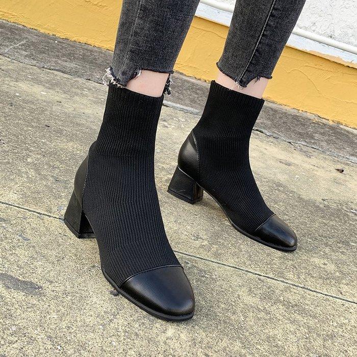 冬季保暖女靴 馬丁鞋 長靴機車靴 韓版百搭秋冬馬丁靴女韓版百搭粗跟短靴女彈力瘦瘦靴中跟短筒靴子