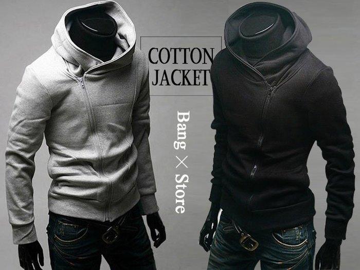 BANG◎斜拉鏈外套 刺客教條 兩色 顯瘦 男士 秋冬 修身 棉質 外套 連帽外套【MC01】