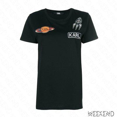 【WEEKEND】 KARL LAGERFELD Space 卡爾 外太空 貼片 短袖 T恤 黑色 18秋冬