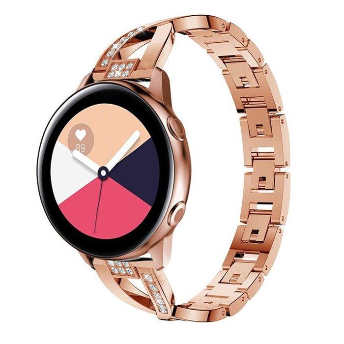 現貨  三星  Galaxy  Watch  42mm  Active  2  優雅閃鑽X字不鏽鋼鏈式智能手錶錶帶  優雅時尚替換腕帶