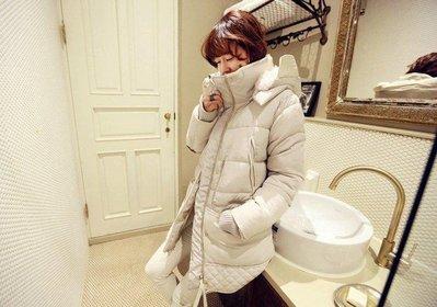 轉賣:╭*D&J流行時尚館*╮【EL185】新款韓版中長款羊羔毛羽絨加厚連帽外套