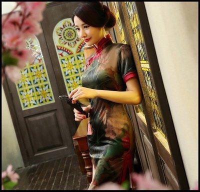 ~妖精的衣見鐘情~旗袍中長款 荷花朵朵新款日常改良修身香雲紗旗袍連衣裙秋短袖雙層顯瘦