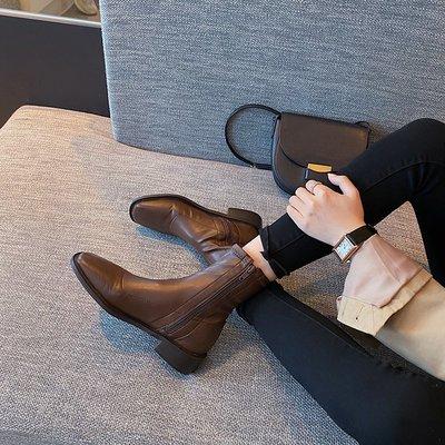 真皮短靴 DANDT 時尚真皮復古方頭彈力拉鍊短靴(20 AUG B1219)同風格請在賣場搜尋 REG 或 歐美女鞋