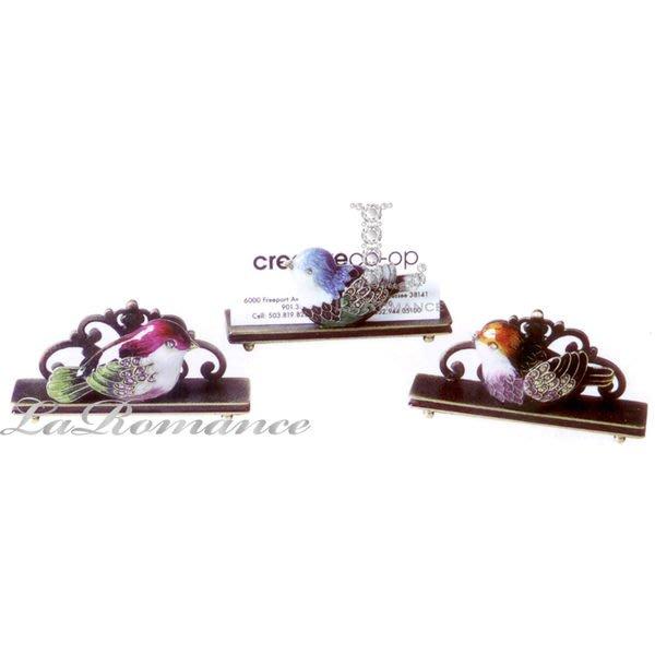【Creative Home】Cottage Chic 法式田園系列彩繪水鑽小鳥合金名片座