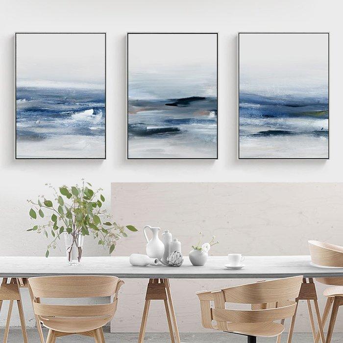 三幅一組油畫布 抽象海浪 畫芯/畫布/30X40☺暖暖屋☺傢居藝術館