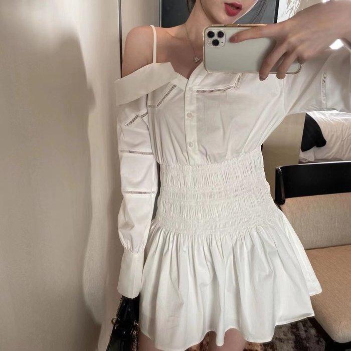 PapaDarling 20SSw 歐美時尚潮流 露肩收腰顯瘦細肩帶褶皺設計感 連身裙 洋裝