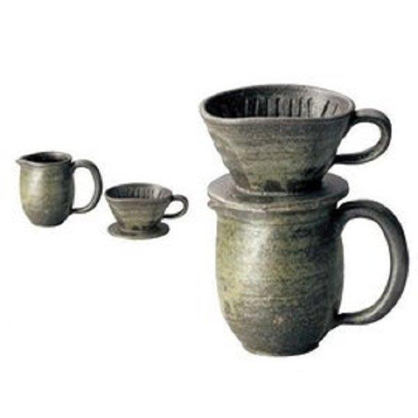 日本陶瓷【伊賀燒】陶瓷咖啡濾杯組 二件組 杉森与平作 手作碗皿 杯盤 陶器 茶碗 湯呑 禮品 杯組 茶杯 咖啡杯組
