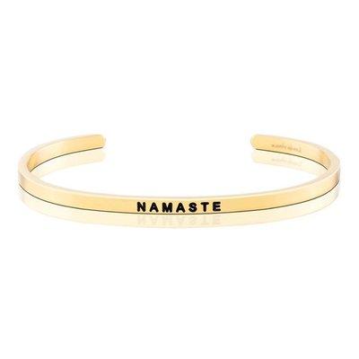 MANTRABAND 美國悄悄話手環 Namaste 虔誠致意 金色手環